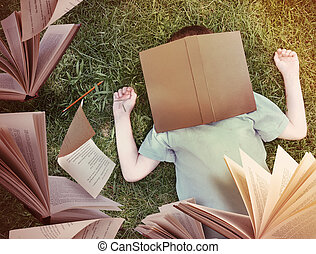menino, ao redor, voando, dormir, livros, capim