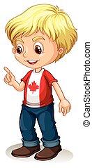 menino, apontar dedo, canadense