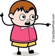 menino, apontar, -, gorda, falando, enquanto, vetorial, ilustração, caricatura, adolescente
