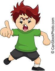 menino, apontar, vetorial, ilustração, dedo, seu, caricatura, zangado, enquanto