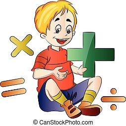 menino, aprendizagem, ilustração, matemática