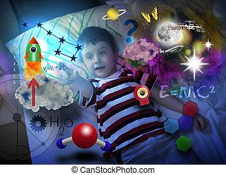 menino, aproximadamente, espaço, ciência, sonhar, educação