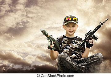 menino, armas, soldado brinquedo, exército, jogo, criança, criança