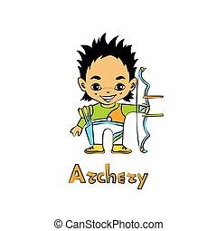 menino, arqueiro, caricatura, arco