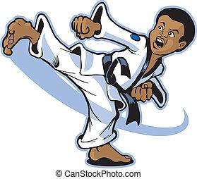 menino, artista marcial, chutando