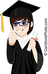 menino, asiático, graduação