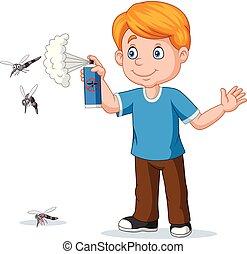 menino, assassino, mosquitos, pulverização, inseto, caricatura