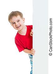 menino, atrás de, anunciando, em branco, bandeira, criança