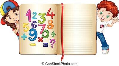 menino, atrás de, livro, menina, matemática
