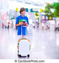 menino, avião, viajando