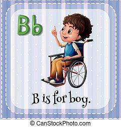 menino, b, letra, flashcard