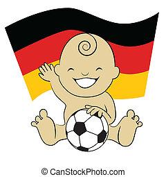 menino, ba, bandeira alemã, bebê, futebol
