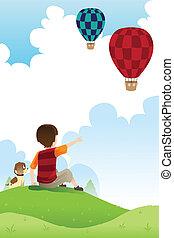 menino, balões, cão, observar