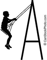 menino, balançando, balanço
