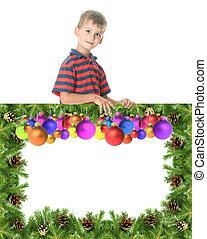 menino, bandeira, natal, segurando