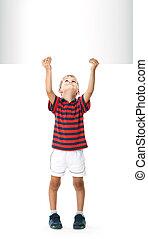 menino, bandeira, segurando