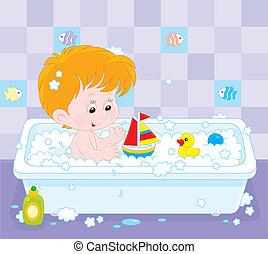 menino, banhar-se