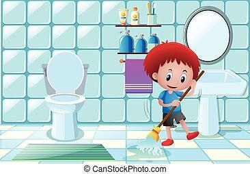 menino, banheiro, molhados, limpeza, chão