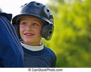 menino, basebol, tocando