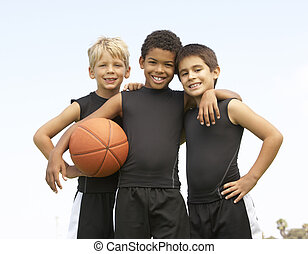 menino, basquetebol, jovem, tocando
