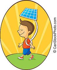 menino, bateria, energia, portative, solar, usando, caricatura