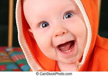 menino bebê, 2, sorrizo, dente