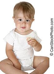 menino bebê, adorável, comer