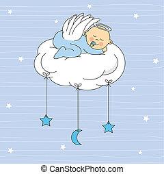 menino bebê, anjo, vestido