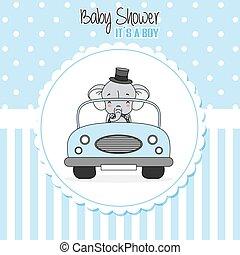 menino, bebê, card., car, dirigido, chuveiro, elefante