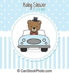 menino, bebê, card., car, dirigido, chuveiro, urso