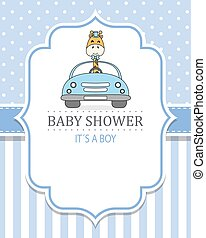 menino, bebê, card., girafa, car, dirigido, chuveiro