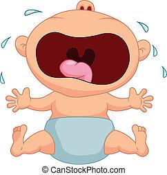 menino bebê, caricatura, chorando