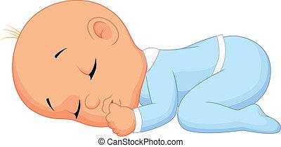 menino bebê, caricatura, dormir