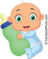 menino bebê, caricatura, segurando, leite, bottl
