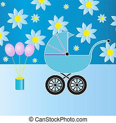 menino bebê, carruagem