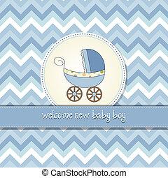 menino bebê, cartão, anúncio