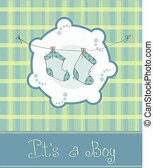 menino bebê, chegada, cartão, anúncio