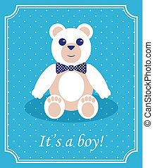 menino bebê, chegada, cartão