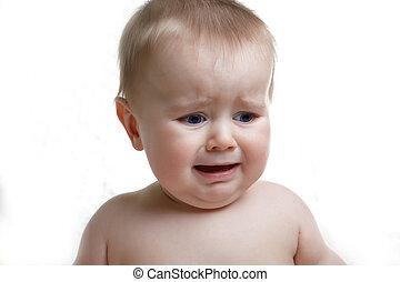 menino bebê, chorando