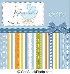 menino bebê, chuveiro, cartão, aouncement