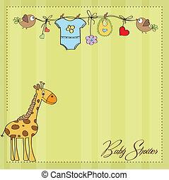 menino bebê, chuveiro, cartão