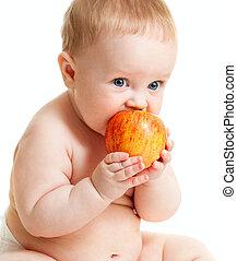 menino bebê, comendo alimento, saudável