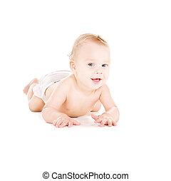 menino bebê, deitando, fralda