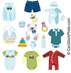 menino bebê, elementos, roupas