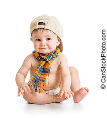 menino bebê, em, um, boné