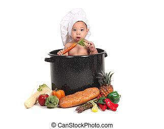 menino bebê, em, um, cozinheiro, pote