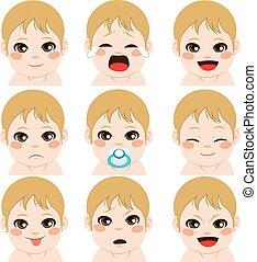 menino bebê, expressões