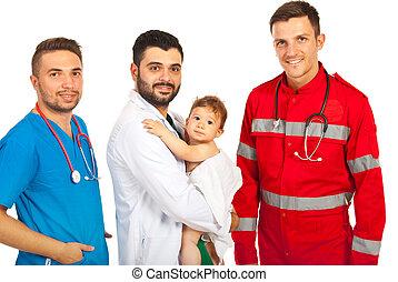 menino bebê, feliz, doutores