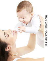 menino bebê, feliz, mãe