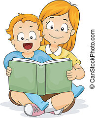 menino bebê, irmã, livro, leitura